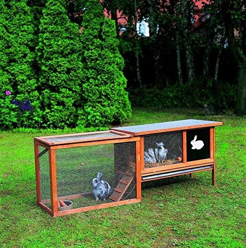 Promadino Hasenstall mit Auslaufgehege Nagerstall Kaninchenhaus Kaninchenstall